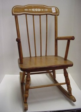 673: Maple Musical Boston Style Childs Rocker: