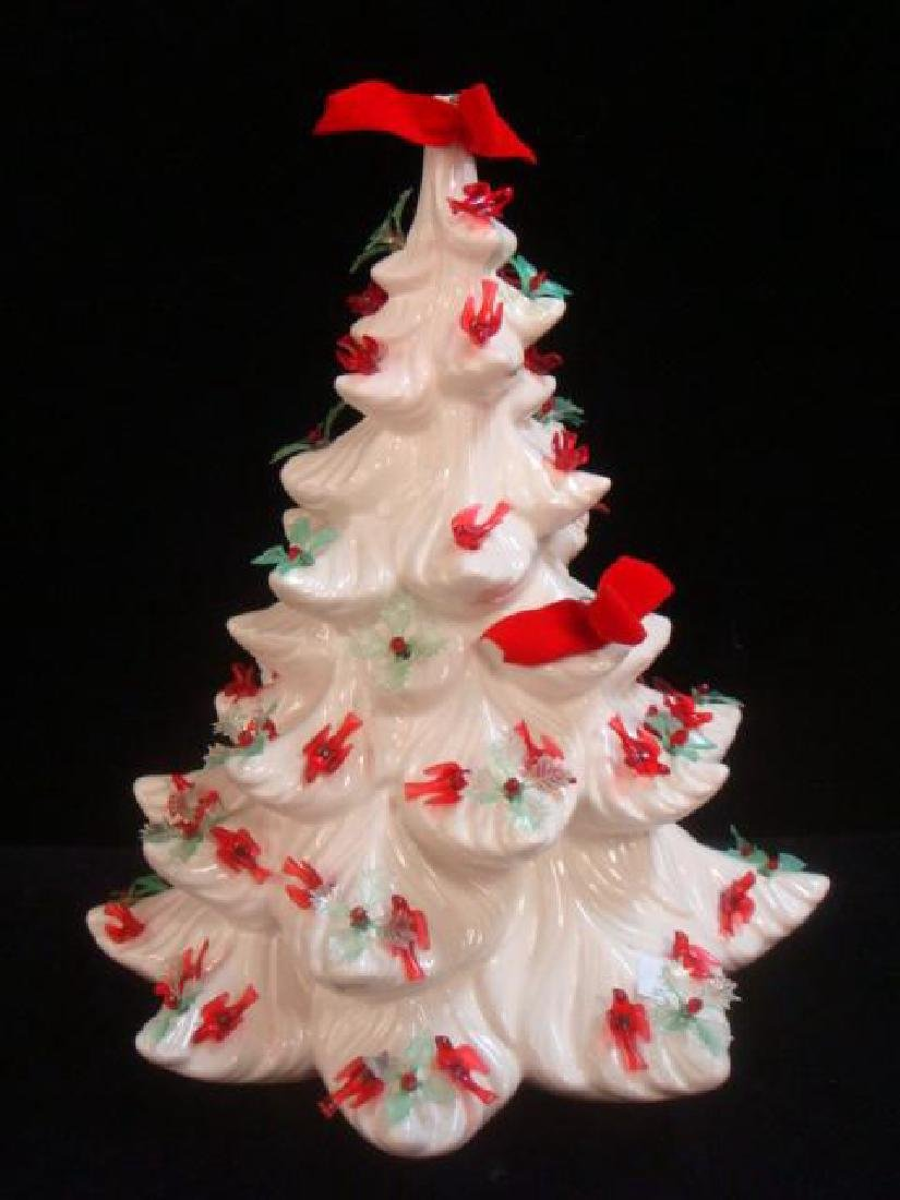 Ceramic Christmas Tree with Birds and Holly: