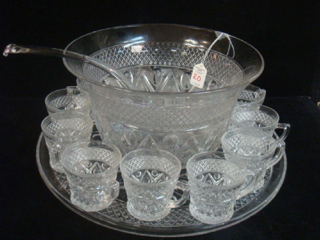 Large Imperial Glass Cape Cod 15 Pc.Punch Set: