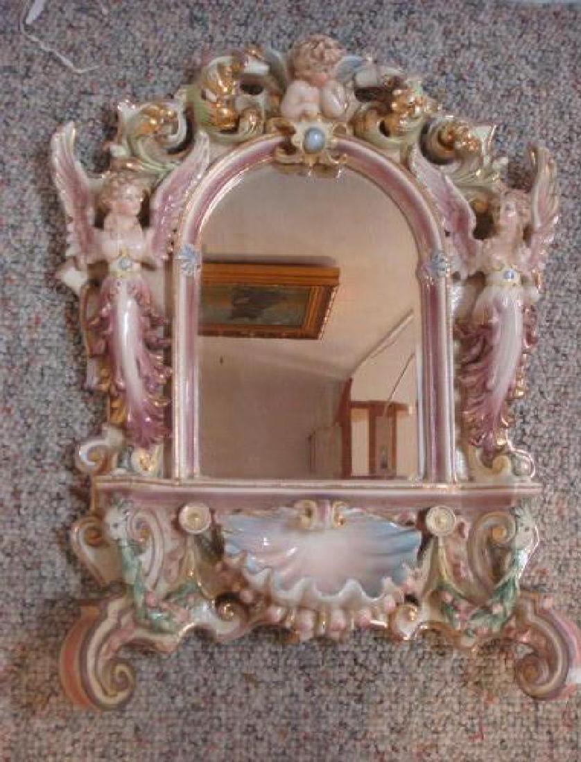 Vintage German Porcelain Figural Framed Mirror: