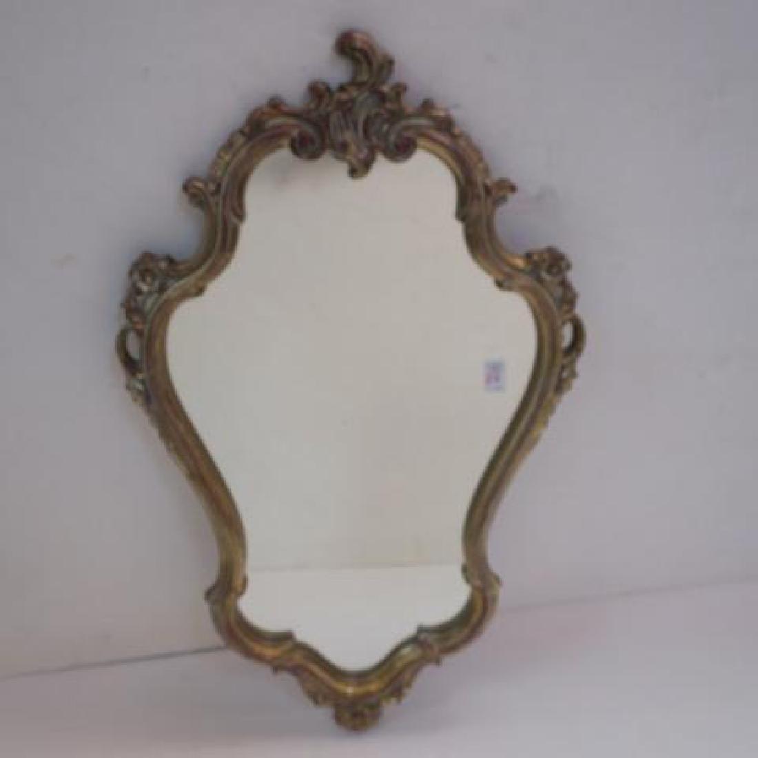 Shield Shaped Gilt Framed Plate Mirror: