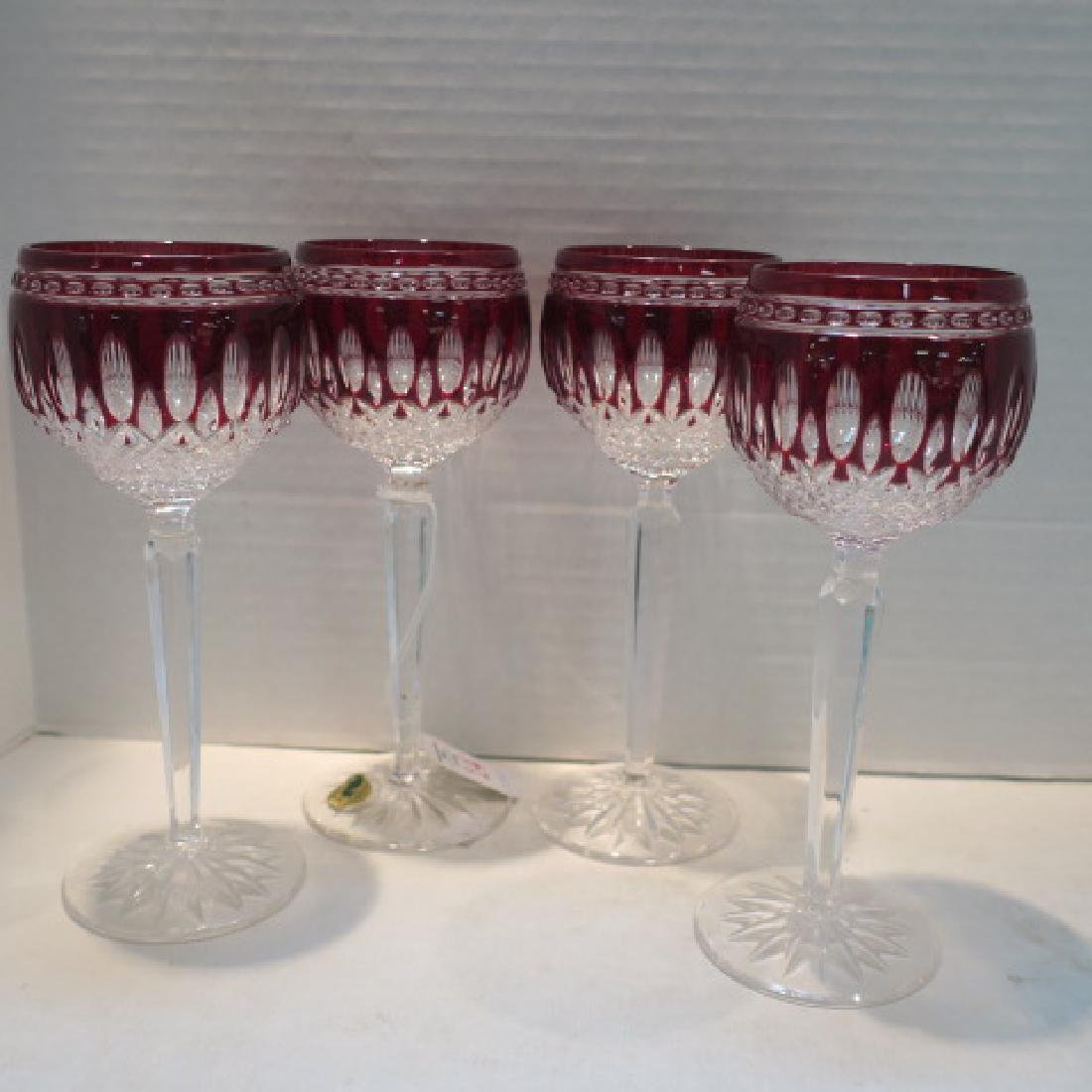 Four Waterford Clarendon Ruby Cut to Clear Wine Stems: