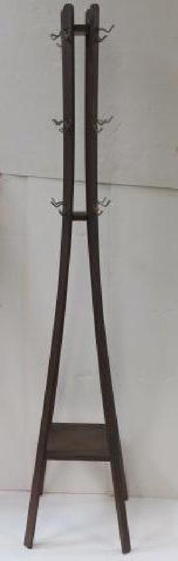 Modern Dark Oak Bentwood Sheaf Coat Rack: