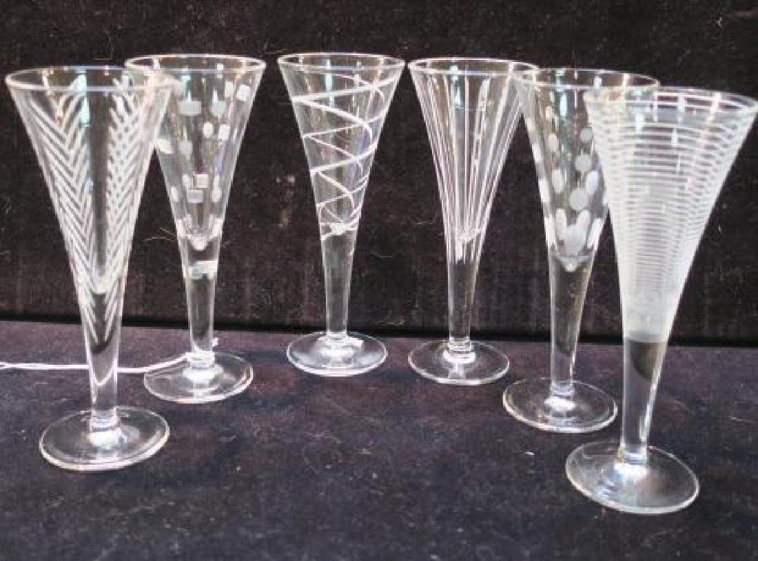 Set of 6 Vintage Small Etched Stems, Assort Patterns: