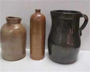 Antique Stoneware Bottle Jar and Pitcher