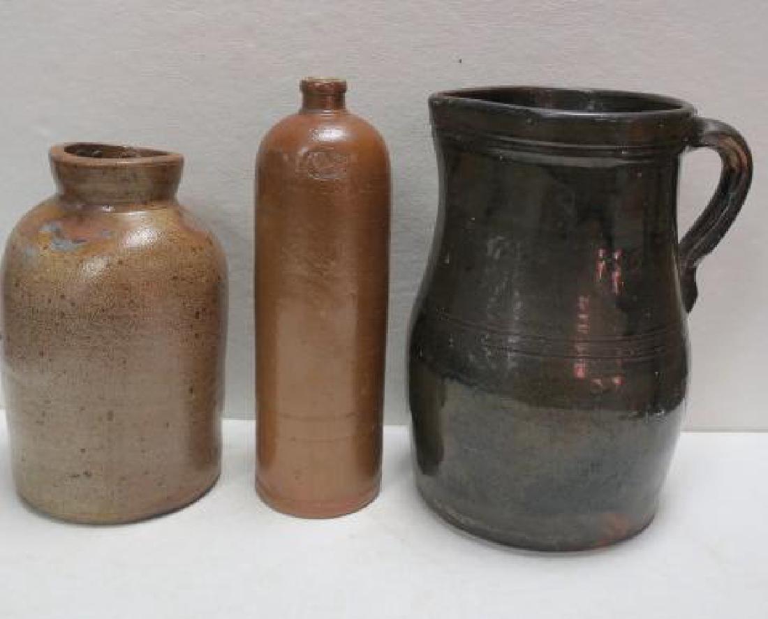Antique Stoneware Bottle, Jar and Pitcher: