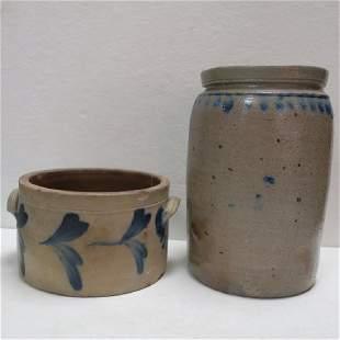Two Antique Salt Glazed Stoneware Crocks with Cobalt