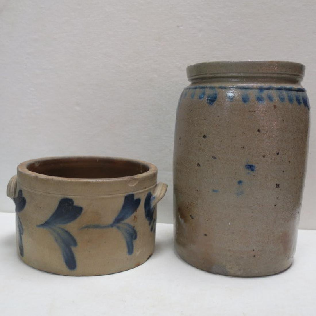 Two Antique Salt Glazed Stoneware Crocks with Cobalt: