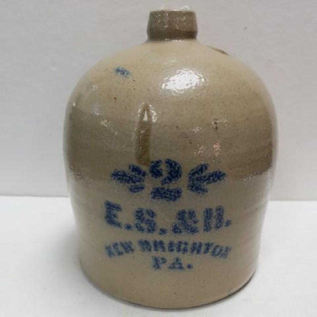 E.S. & B. New Brighton PA Salt Glaze Jug:
