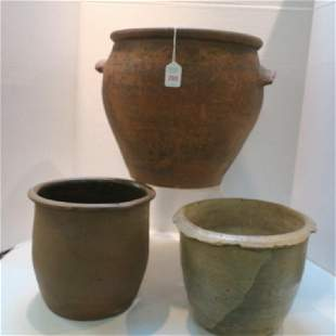 Two Redware and Other Antique Crocks