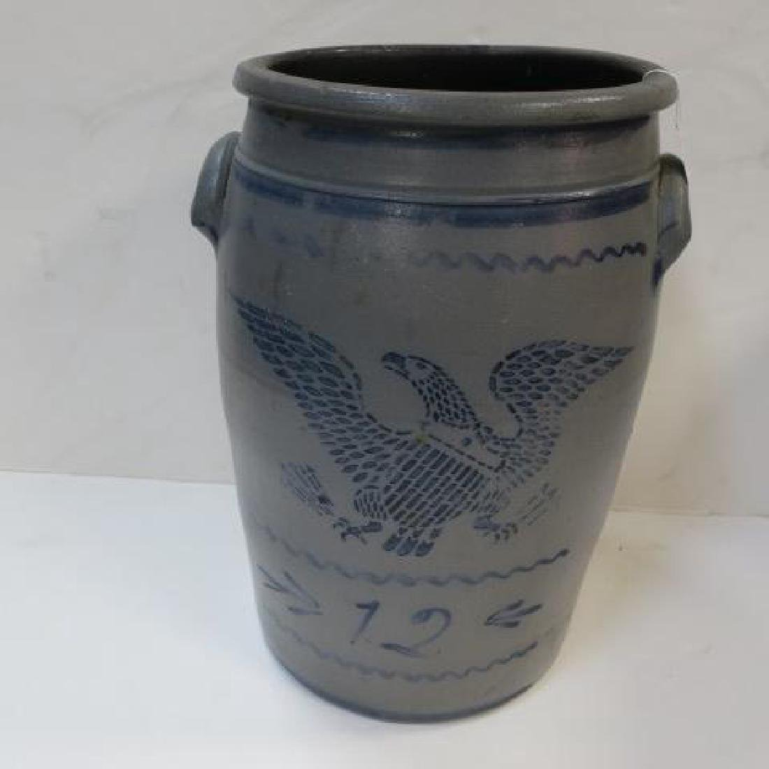 12 Gallon Stoneware Crock with Stenciled Eagle: