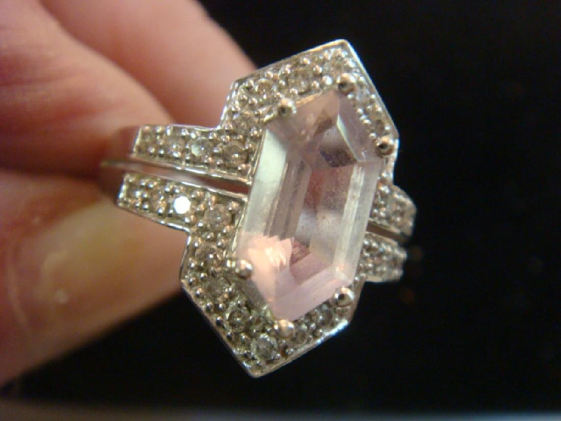 14KT White Gold Diamond and Lavender Amethyst Ring: