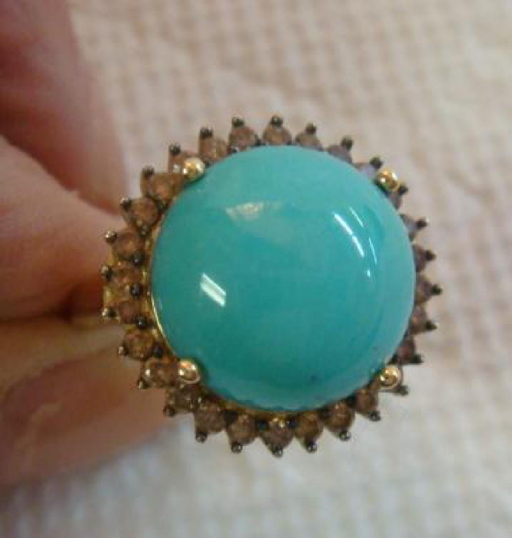 14KT Yellow Gold Cabochon Turquoise and Diamond Ring: