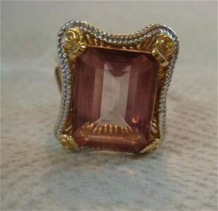 14KT WhiteYellow Gold Emerald Cut Tourmaline Ring