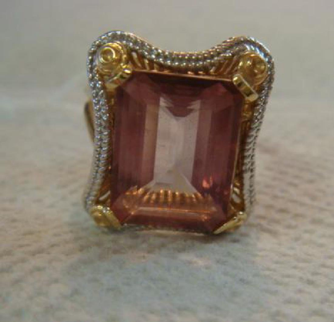 14KT White/Yellow Gold Emerald Cut Tourmaline Ring: