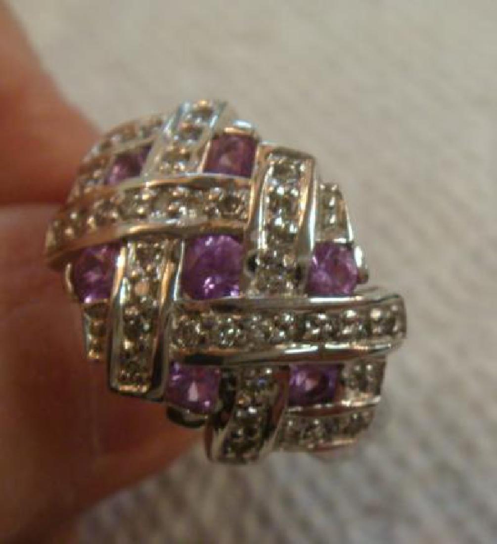 14KT White Gold Pink Tourmaline/Diamond Ring: