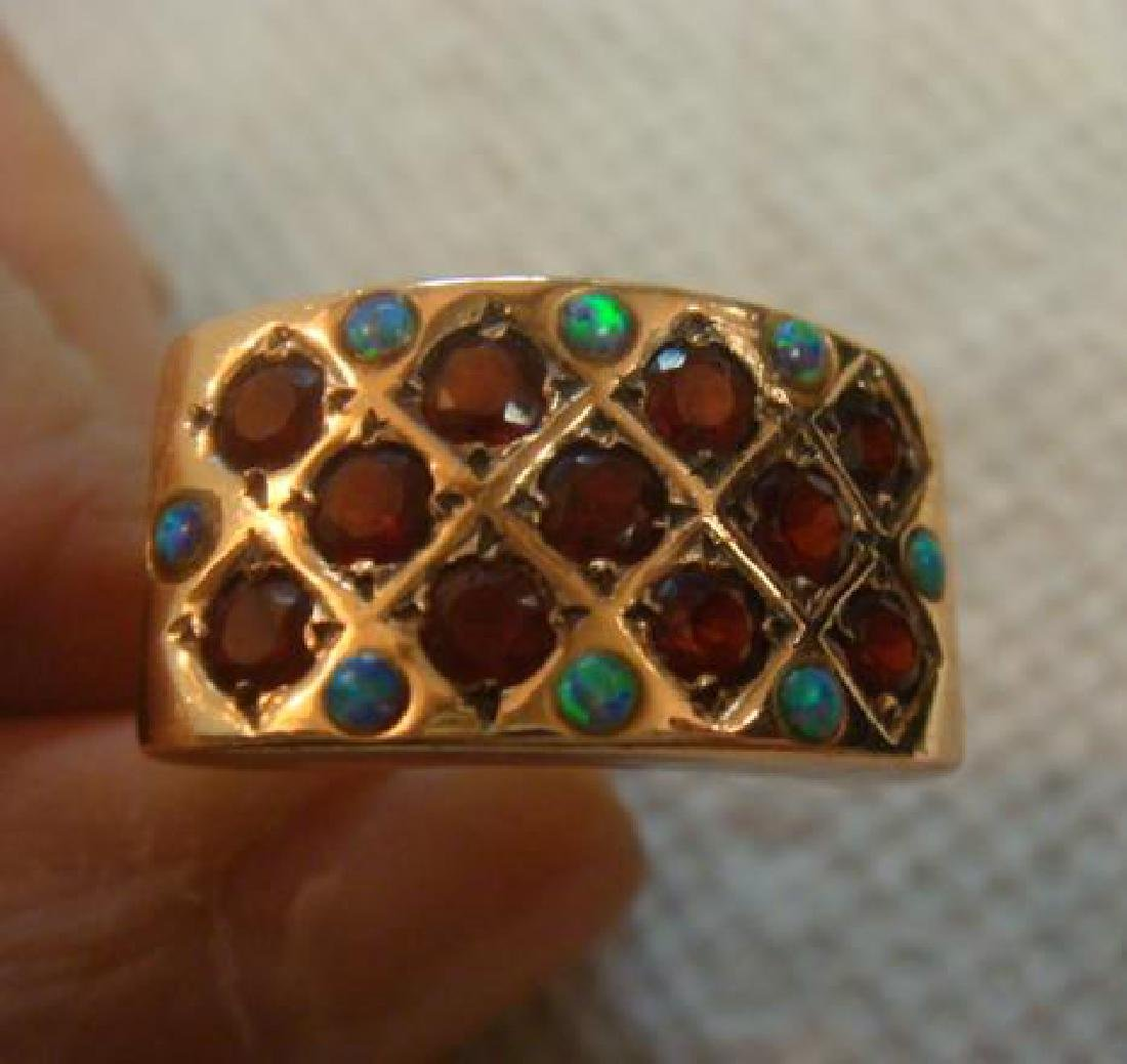 14KT Yellow Gold Garnet and Opal Ring: