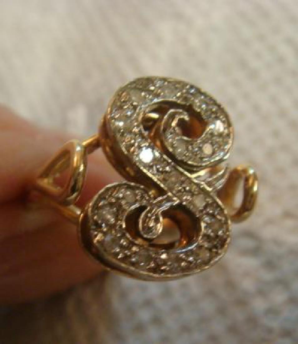 "14KT Yellow Gold Diamond Letter ""S"" Ring:"