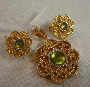 14KT Italy Pendant and Earring Suite