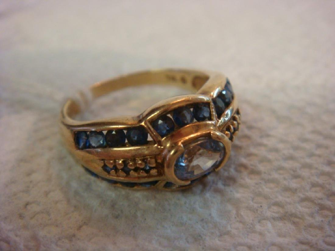 14KT Yellow Gold Natural Montana Sapphire Ring: