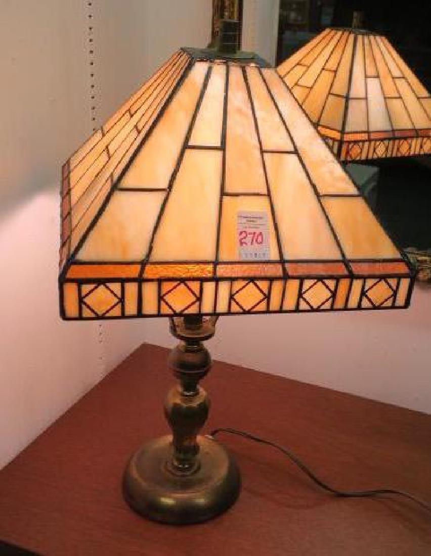 Arts & Crafts Pyramid Slag Glass Table Lamp: