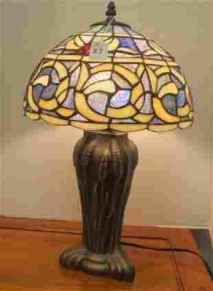 Cast Metal Table Lamp with Stained Glass Shade