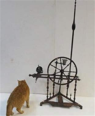 19th C Treadle Flax Spinning Wheel