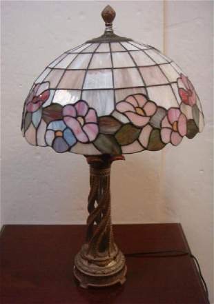 Table Lamp with Floral Leaded Glass Shade