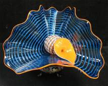 Signed DALE CHIHULY MAYA BLUE PERSIAN PAIR Sculpture: