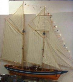 Large Wooden Model of Topsail Schooner: