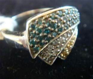 14KT White Gold Tiered Ring With Sprays of Diamonds