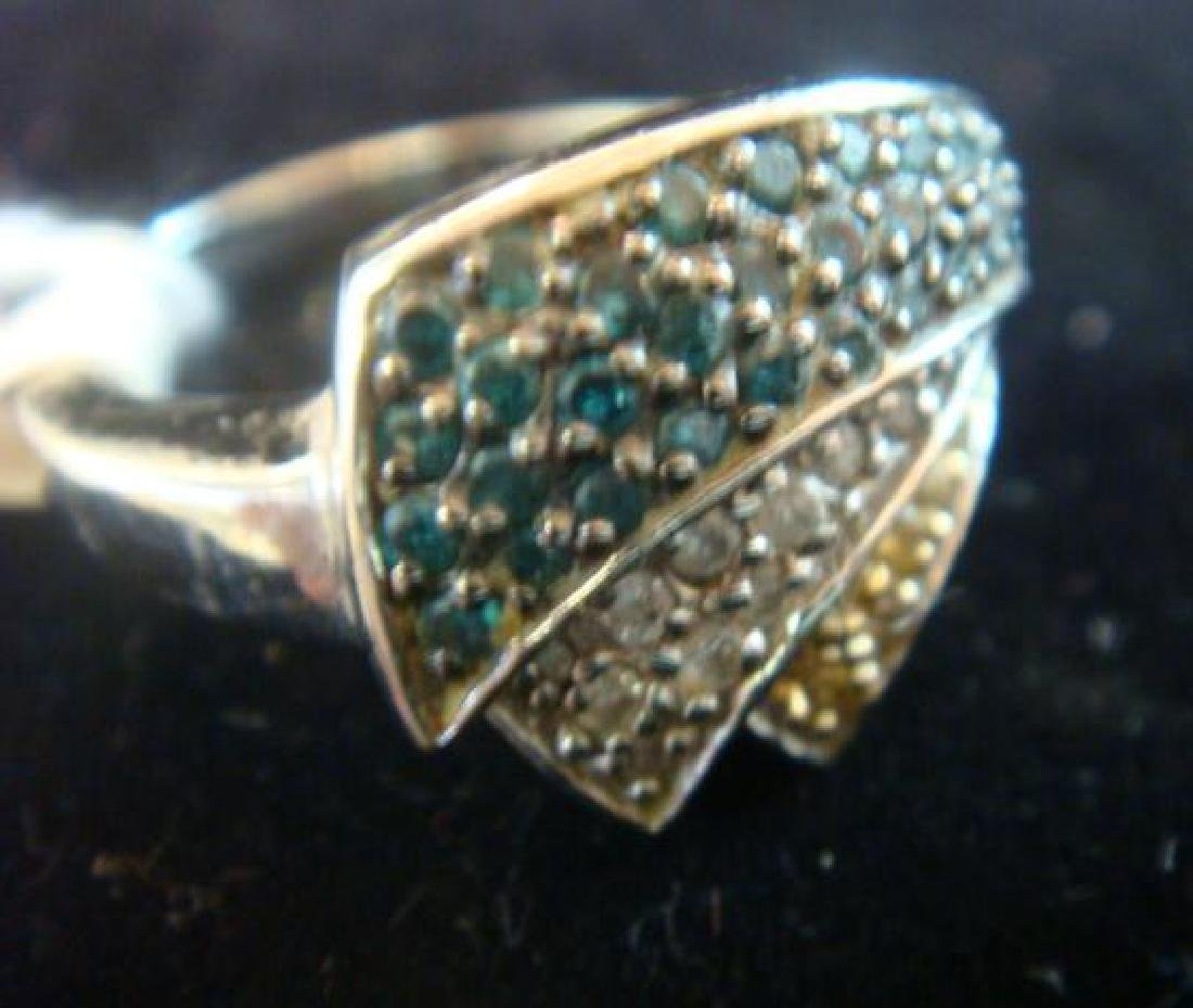 14KT White Gold Tiered Ring With Sprays of Diamonds: