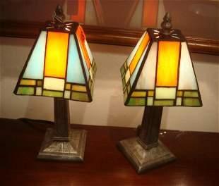 Pair of Mini Boudoir Lamps with Mondrian Shade
