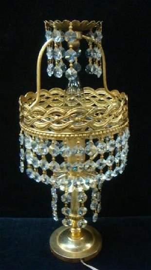 Mini Gold Metal and Prism Table Lamp