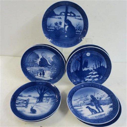 Royal Copenhagen Christmas Plates.Nine Royal Copenhagen Christmas Plates 1970 1978