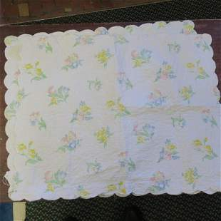 Three Handstitched Quilted Floral Pattern Pillow Cases