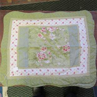 Two Handstitched Quilted Floral Pattern Pillow Cases