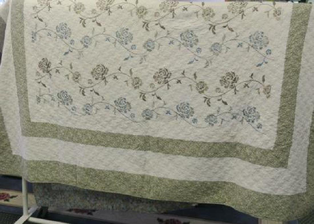 Machine Made Quilt With Rose Pattern Fabric.