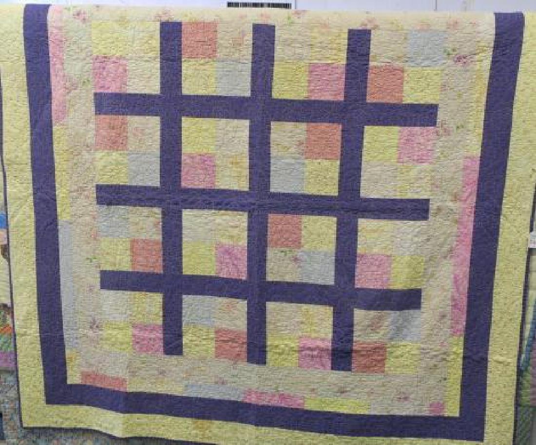 Handstitched Quilt in Block Patchwork Pattern: