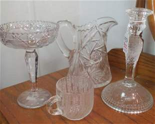 Six Pcs of Clear Cut and Pressed Glass