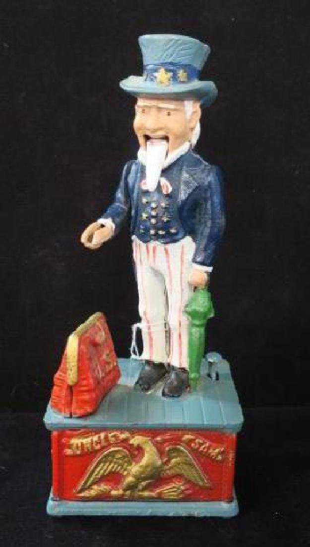 UNCLE SAM Cold Painted Mechanical Bank:
