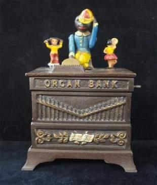 ORGAN BANK with Monkey and Dancing Hula Girls