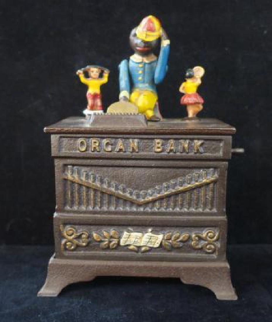 ORGAN BANK with Monkey and Dancing Hula Girls: