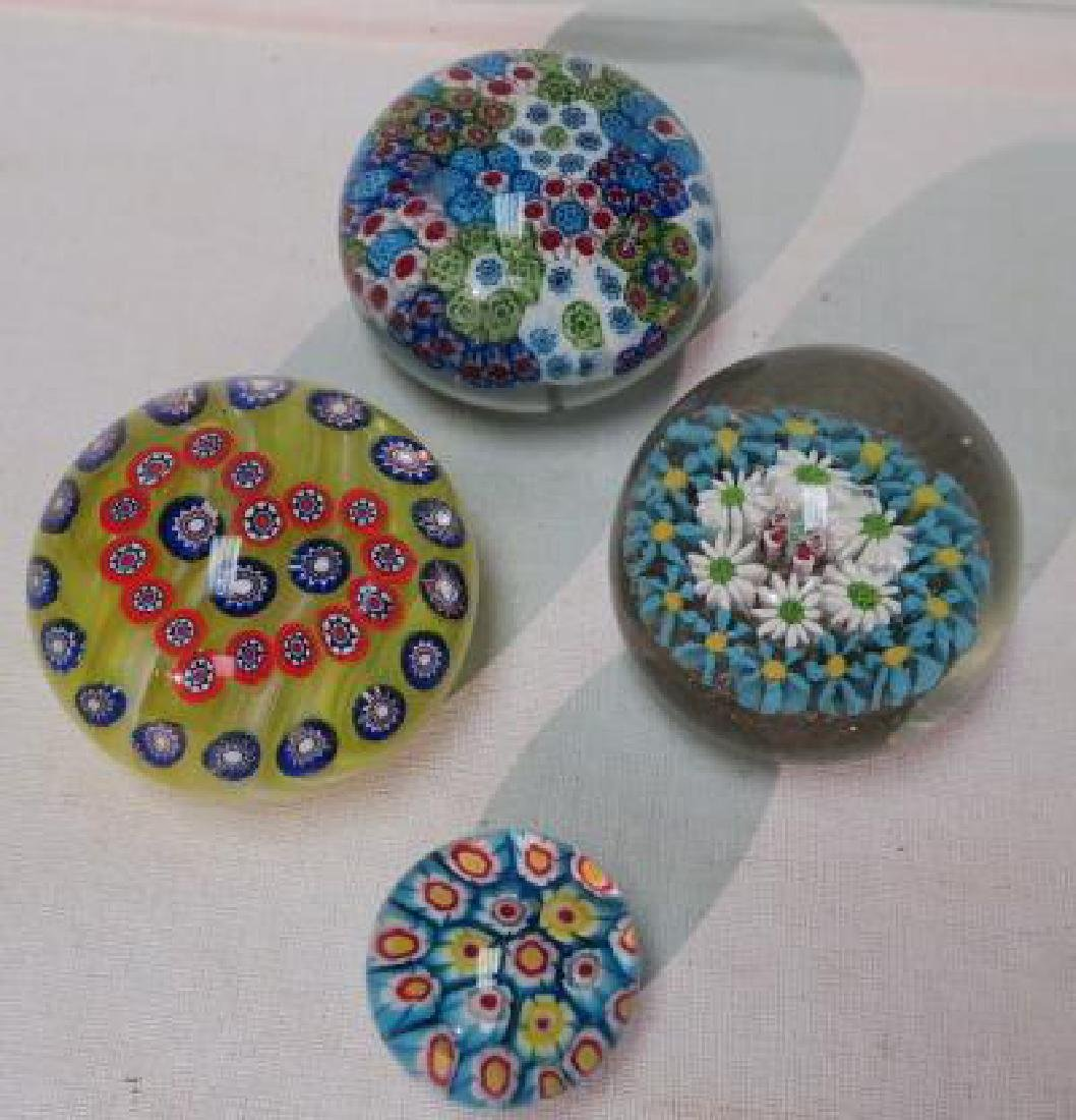 Four Millifore Art Glass Paperweights:
