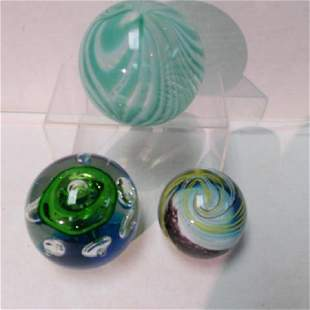 Three Large Art Glass Paperweights