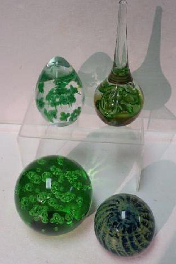 Four Green Art Glass Paperweights