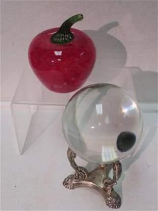 Crystal Ball OGLEBAY Art Glass Apple