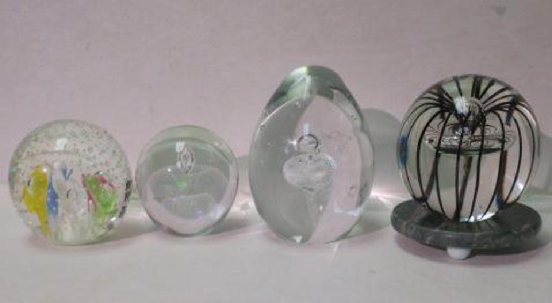 Four Large Art Glass Paperweights: