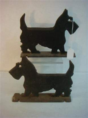 Pair of Flat Outlined Scottie Dog Boot Scrapers