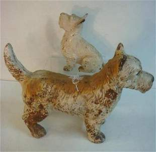 Two Cold Painted White Scottie Dog Door Stops